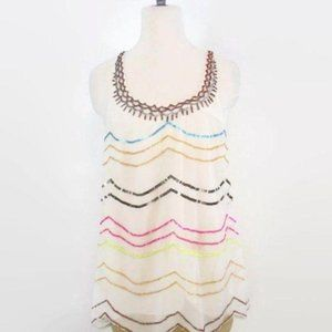 Free People Cream Sequin Summer Top Small